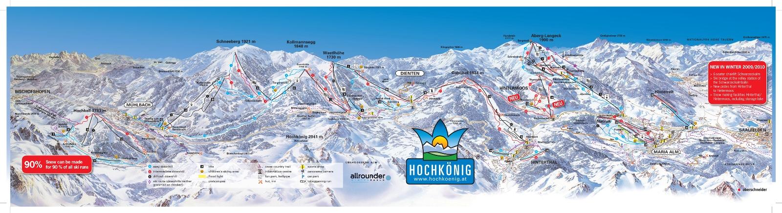 Hochkönig ski map