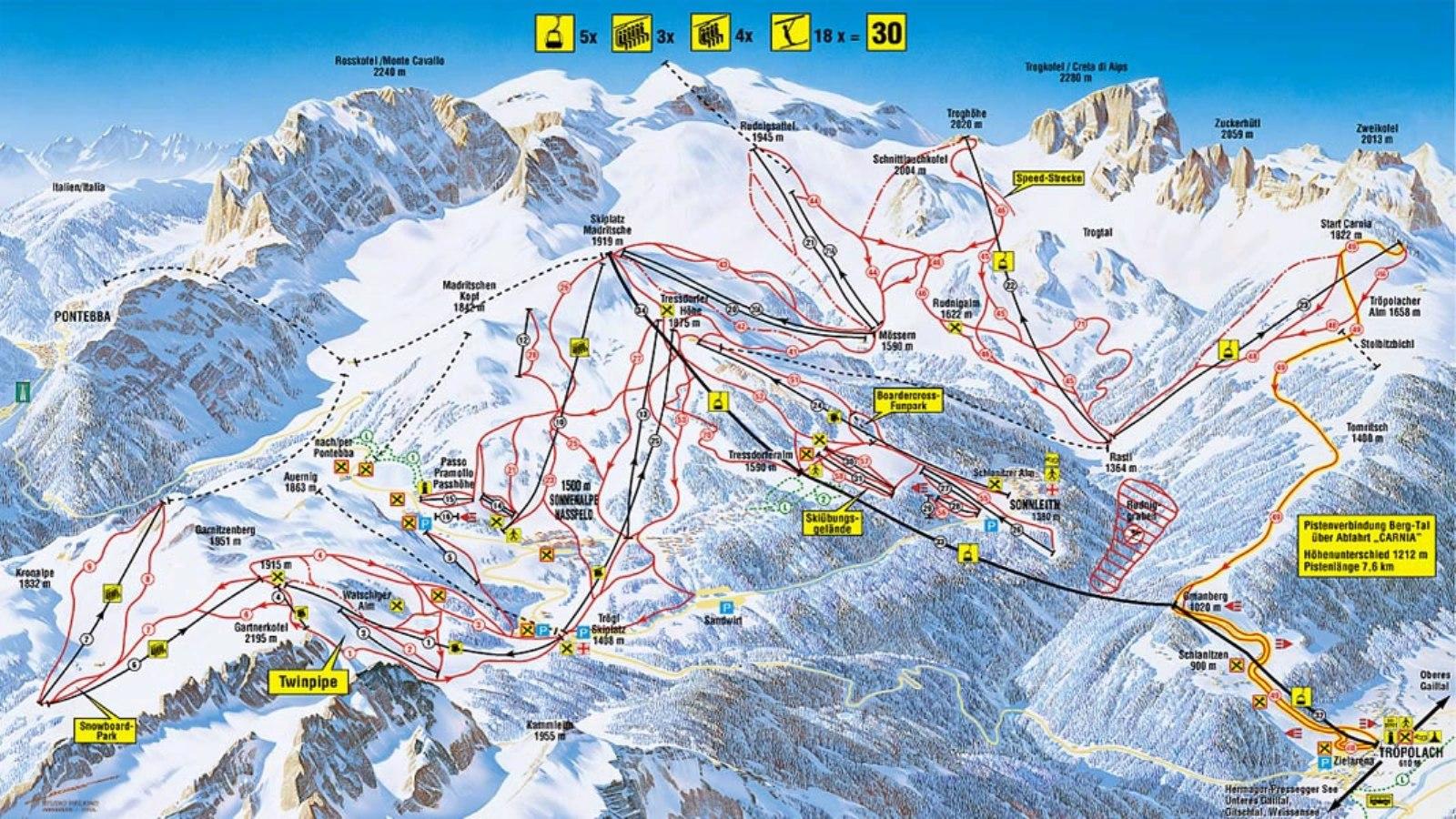 nassfeld térkép
